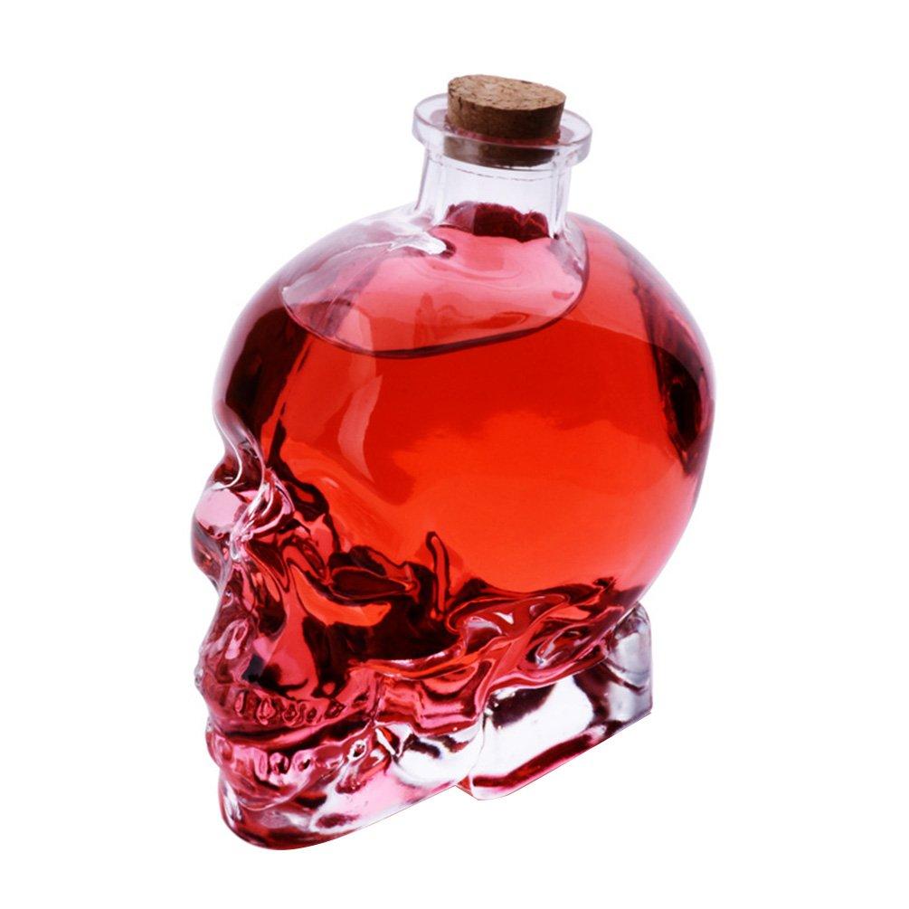 Uarter Skull Glass Wine Decanter Multi-purpose Whiskey Decanters Creative Vodka Bottle, 180mL, Transparent Color