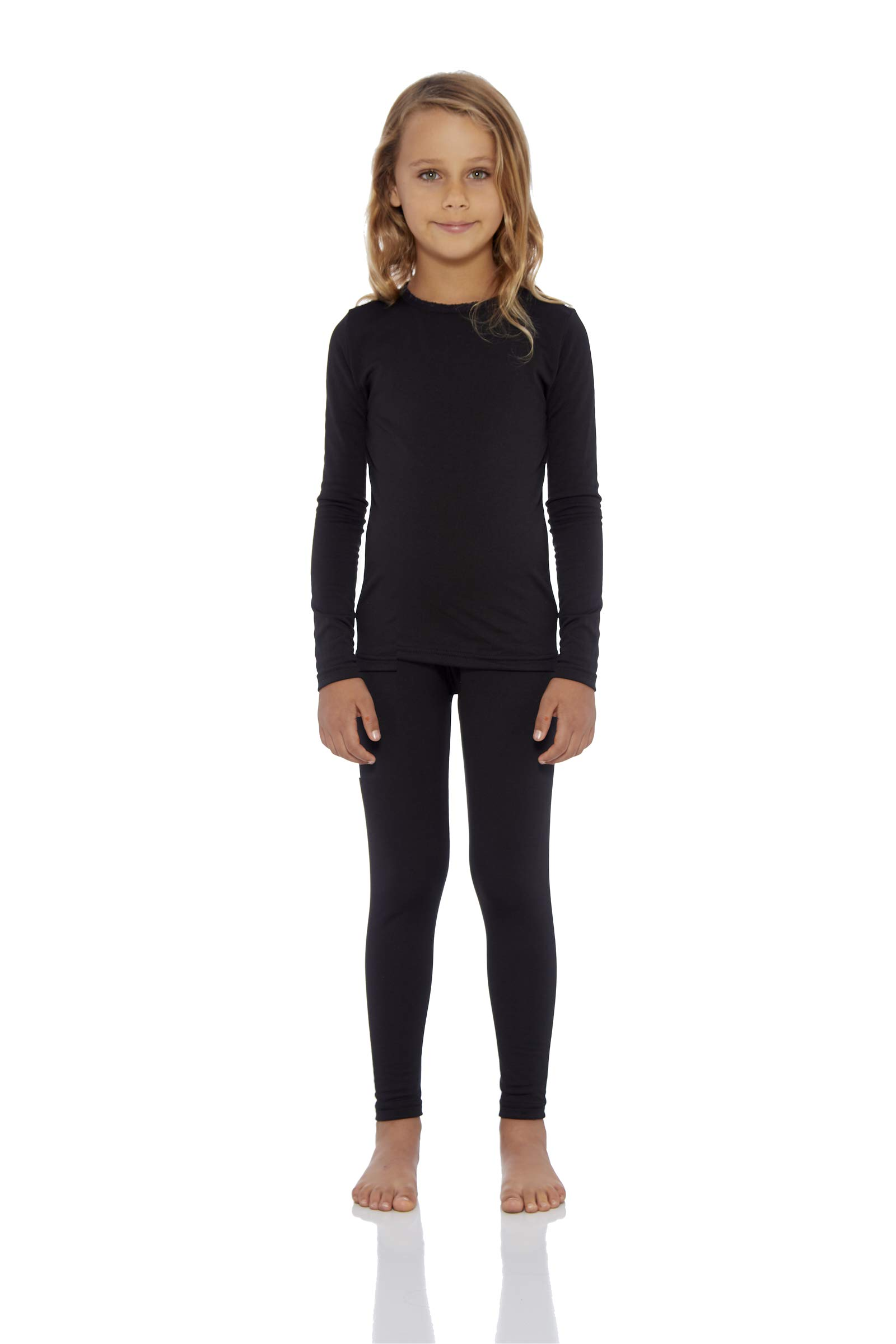 Rocky Girl's Smooth Knit Thermal Underwear 2PC Set Long John Top and Bottom Pajamas (Black, L) by Rocky
