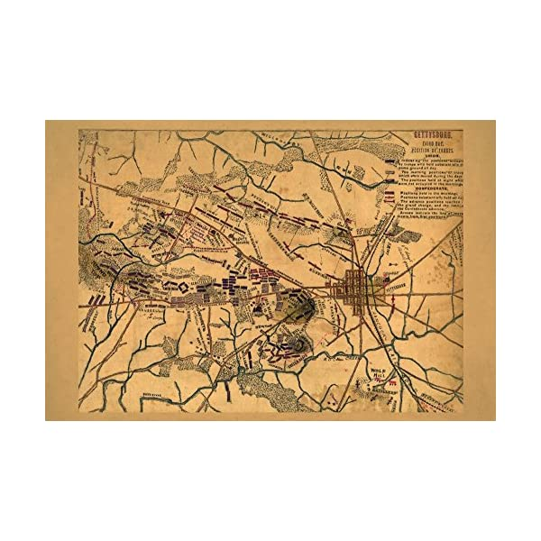 Battle of Gettysburg – Civil War – (1863) – Panoramic Map (9×12 Fine Art Print, Home Wall Decor Artwork Poster)