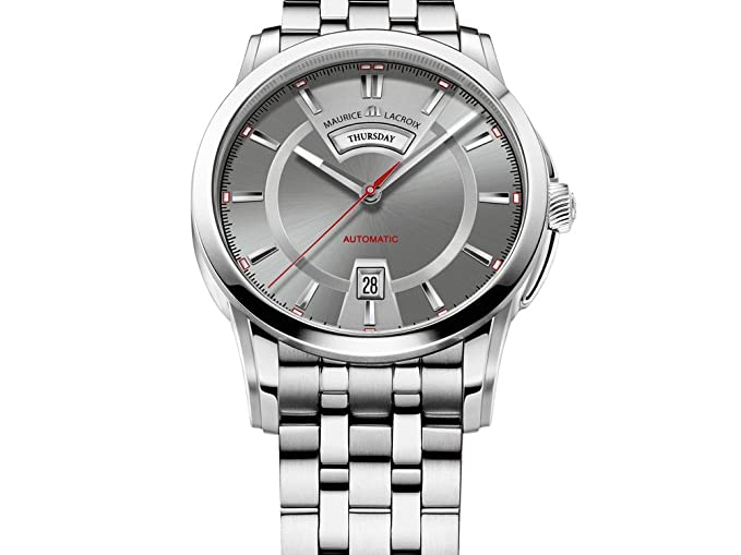 Reloj Automático Maurice Lacroix Pontos Day/Date, Acero inoxidable, Gris: Amazon.es: Relojes