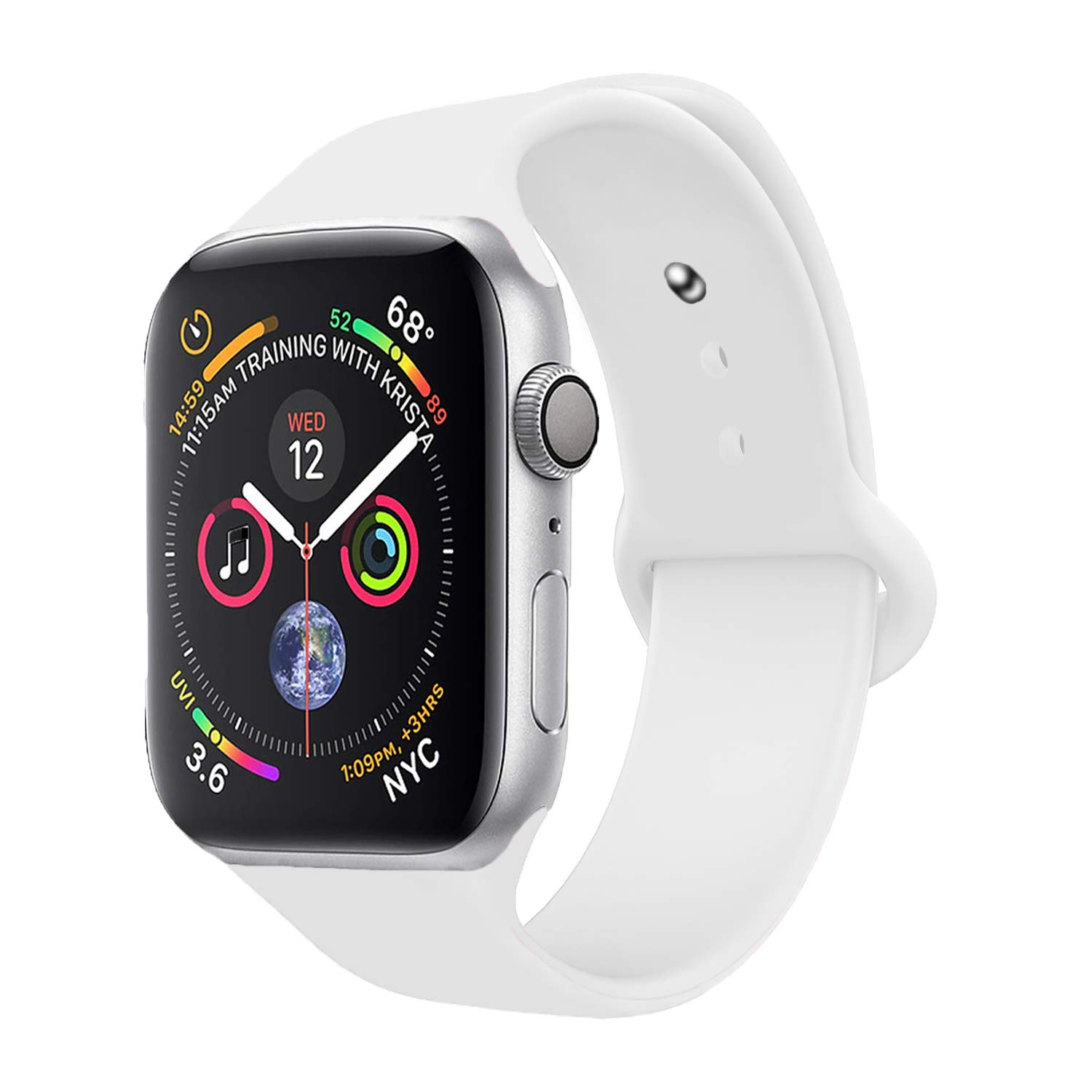 iZonze Sport Band for Apple Watch Band, Silicone Strap Replacement Wrist Strap for iWatch Nike+Series 4/3/2/1 (White, 42mm/44mm S/M)