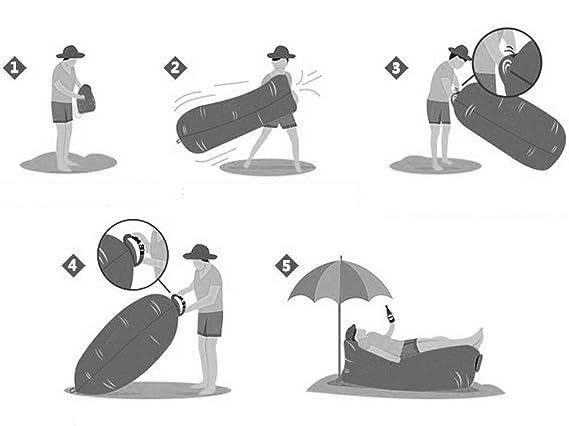 wetoo inflable tumbona, portátil Aire Colchón Sofá Cama para Camping, Senderismo, Viajes, playa, pooland park-easy para inflar y llevar: Amazon.es: Hogar