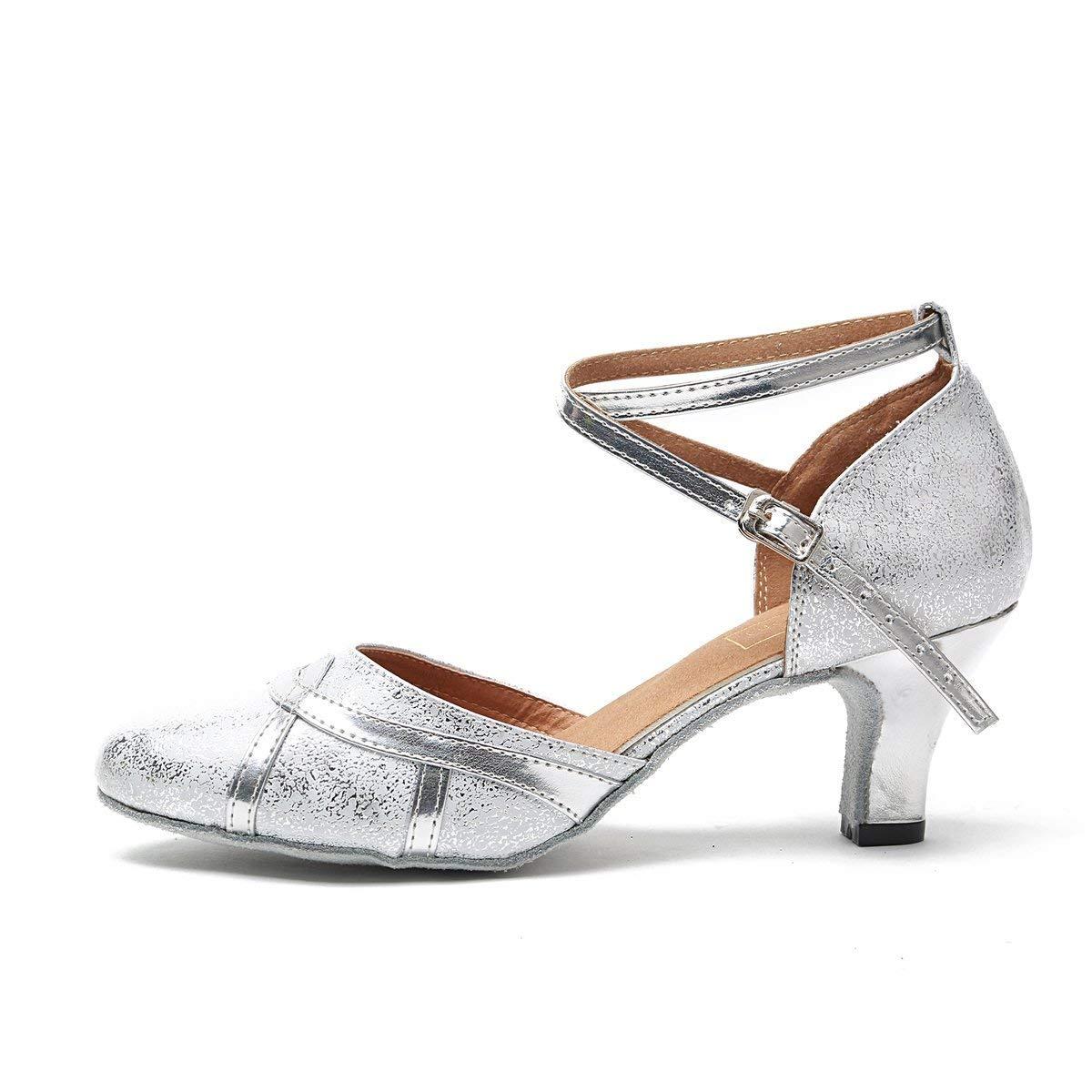 ZHRUI Zapatos de Baile de de de Salsa Latina sintéticos de tacón Plateado para Mujer de 2,5