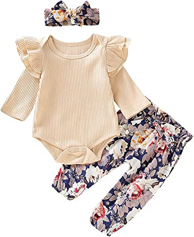 Amberetech 3Pcs Infant Baby Girls Shorts Clothing Sets Cotton Vest Bodysuit Romper Shorts Outfits with Headband