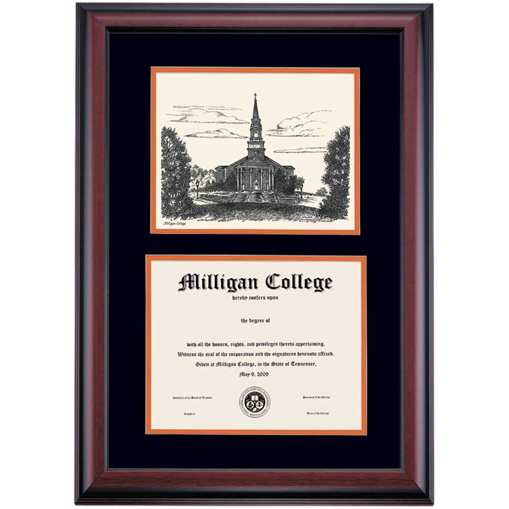 Campus Linens Milligan Buffaloes Diploma Frame Black Orange Matting Pen & Ink