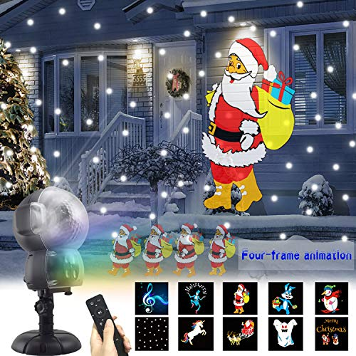 AOLOX SN-01 Snow Animated, Outdoor Halloween Christmas Decorative LED Snowfall Projector Lighting with Music Playback and Remote Control, ()