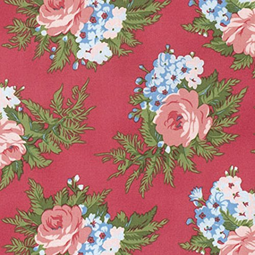 Indigo Rose Cherry Bouquet Cotton Fabric Verna Mosquera