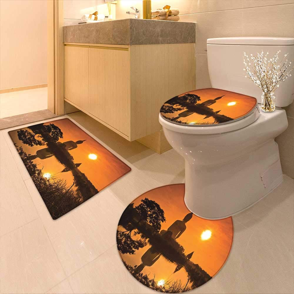 3 Piece Anti-Slip mat Set Big Giant Statue by The River at Sunset Thai Asian Culture Scene Yin Printed Rug Set