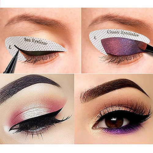 64 Pairs Eyeliner Stencil Stickers, Smoky Eyeshadow Applicators Template Plate For Everyone from Beginner to Professionals, Pro Beauty Quickly Makeup Guide Template