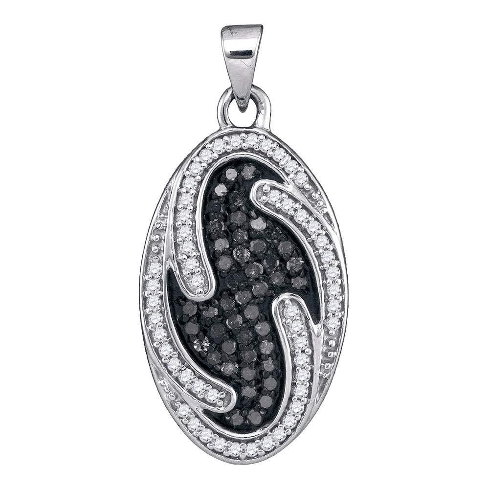 Bijoux par Lux 10KT Or blanc pour femme rond Noir Couleur amélioré Diamant ovale Cluster Pendentif 1/2carat au total