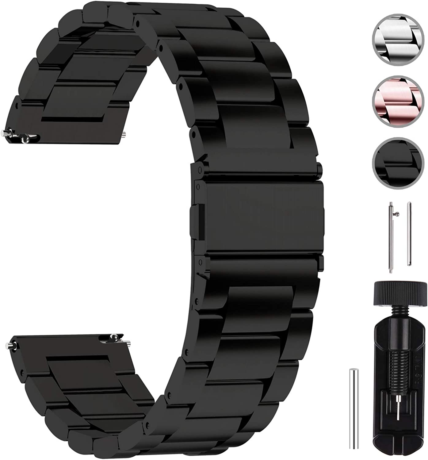 Fullmosa Quick Release Watch Band, Stainless Steel Watch Strap 16mm, 18mm, 20mm, 22mm or 24mm