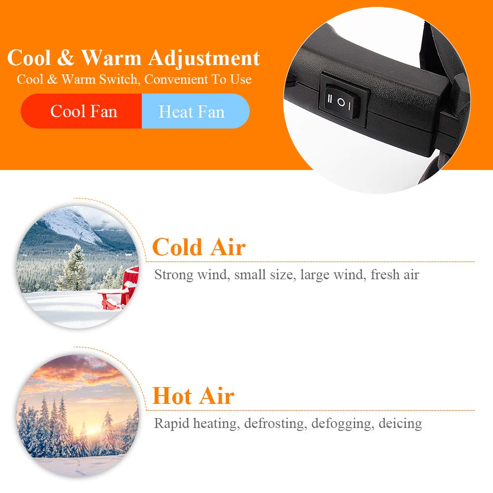 A - 3 Wide Outlet Portable 12V Car Auto Heating Cooling Fan Car Vehicle Heater Fan Defroster Demister Winter with Rotary Holder E
