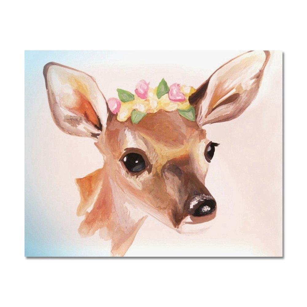 Lecimo Taladro Completo DIY 5D Pintura Diamante Animales Punto De Cruz Artesaní A Decoració N del Hogar (30 * 25cm, Deer #2)