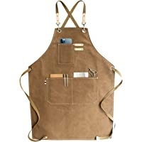 Chef Apron, Cotton Canvas Cross Back Adjustable Apron with Pockets for Women and Men, Kitchen Cooking Baking Bib Apron…