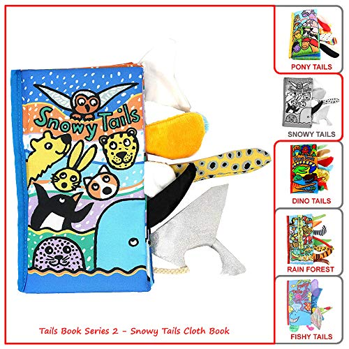 (Polar Animal Tails,Fabric Soft Cloth Books,Educational Crinkle Toy Book for Toddlers,Babies,Infants and Kids,Funny Animal Snowy Tails Book,Baby Whale,Polar Bear,Owl,Penguin, For Boy&Girl,Birthday&Gift)