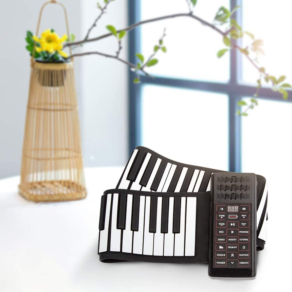 KKTECT Roll Up Piano Built-in Loudspeaker Portable 88-Key Electronic Organ Thicken Folding Keyboard Hand Roll Piano with MIDI and Bluetooth for Beginners//Children Gift
