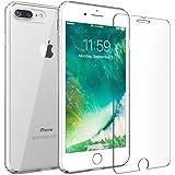 iPhone 7 Plus 8 Plus case, FlexGear 360 Slim Clear Hard PC Back TPU bumper + Glass Screen Protector (Clear)