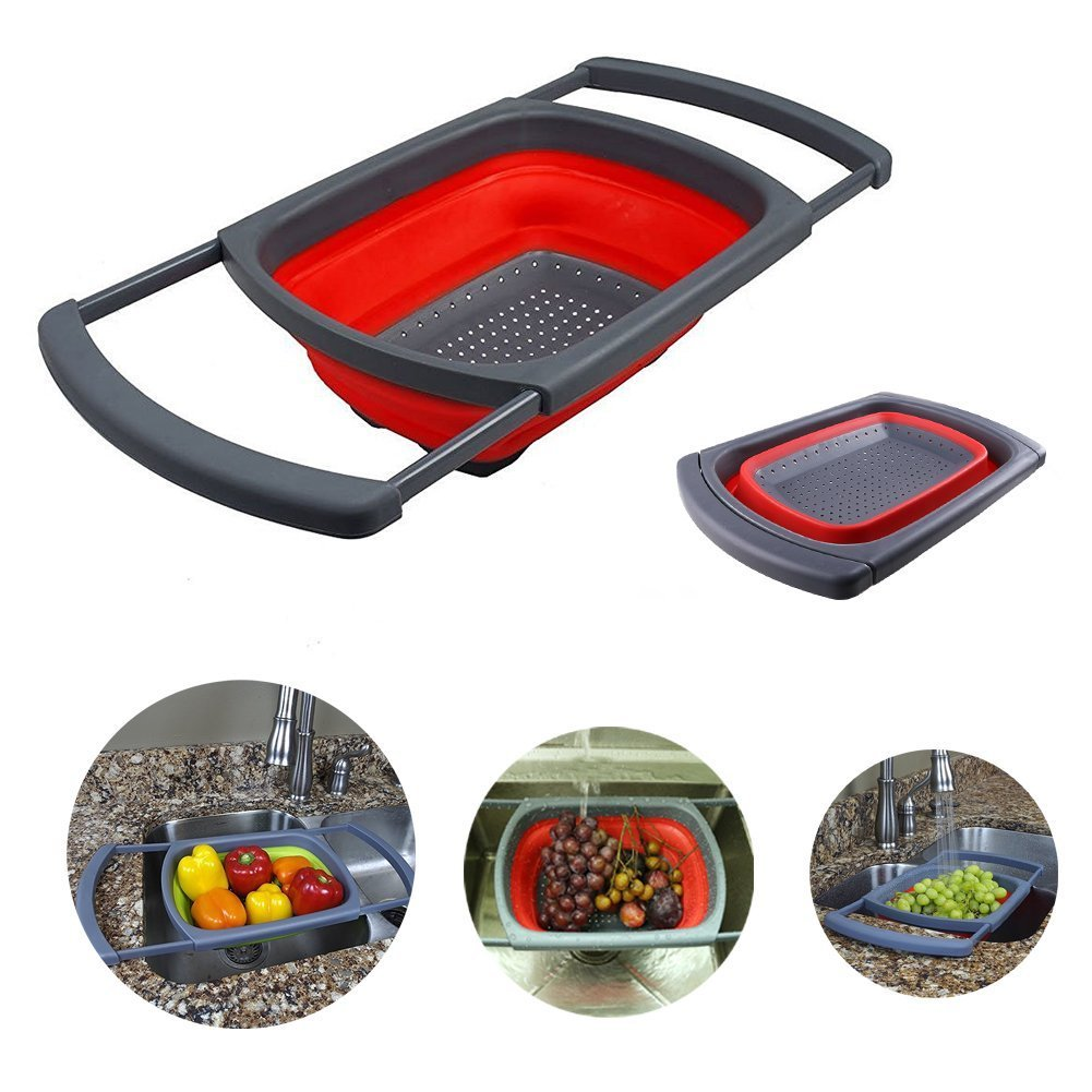 Over-the-Sink Collapsible Colander, Xuanlan Silicone Kitchen Strainer Basket with Extendable Folding Handles Space Saving, Quick Draining, Non-Slip Base, Dishwasher Safe (Rectangular)