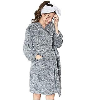 06d4b95e6c Damen Bademantel mit großen Taschen, Weich u. Kuschelig Flauschig  Morgenmantel für Erwachsene, Blau