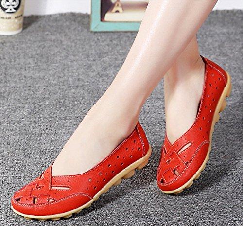 Pisos Lady Rojo Mujer Slip Holgazanes Bridfa mujer Cuero Shoe Mujer Zapatos grande de Tamaño On Boat Casual Genuino wq780TqY