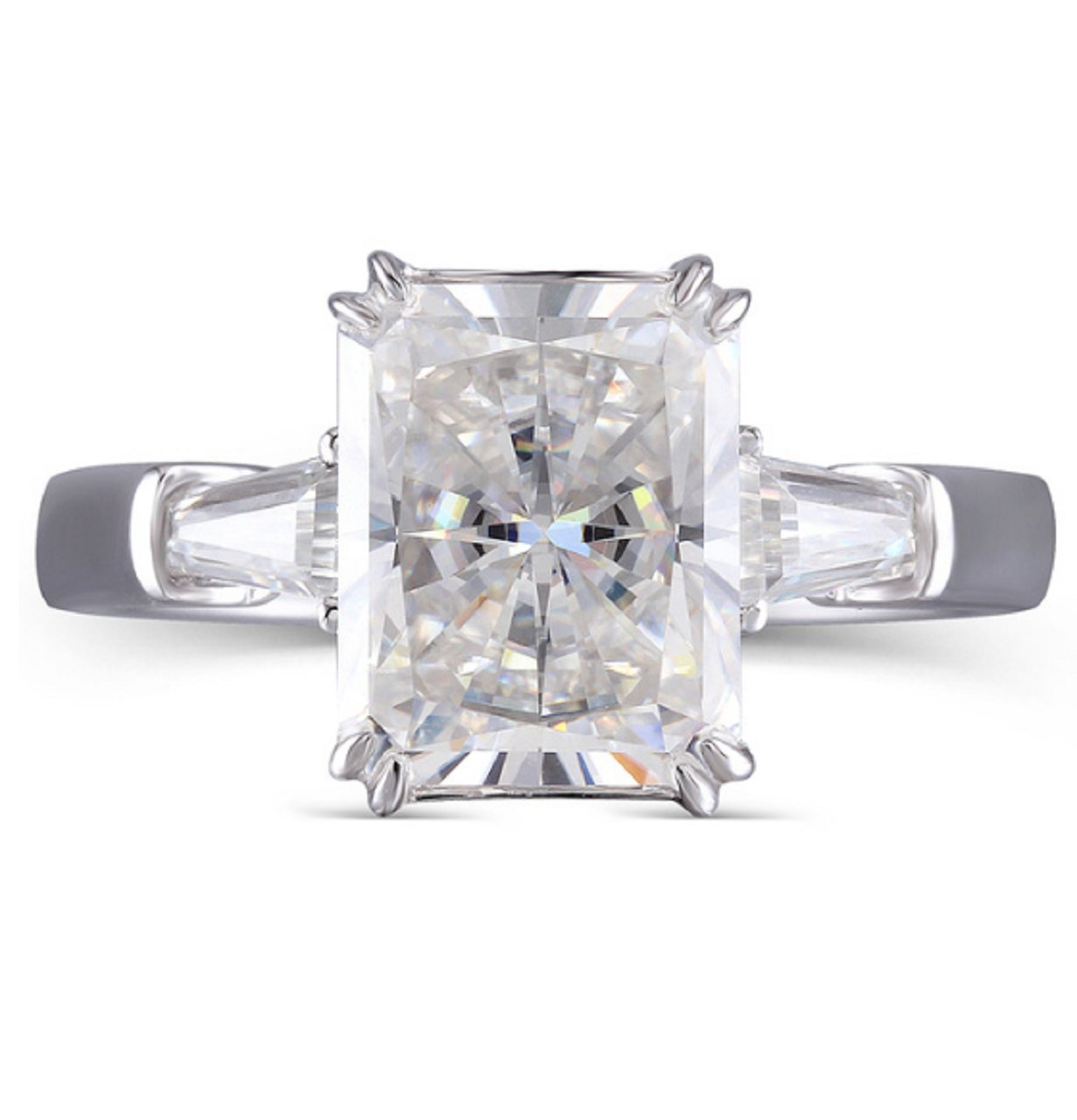 GOWE 4ct 8X10mm F Color Radiant Cut Moissanite Simulated Diamond Engagement Wedding Ring Genuine