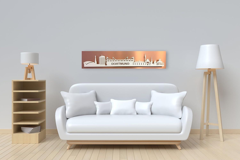 Bild Leuchtbild Skyline Skyline Skyline Dortmund mit LED-Beleuchtung- Lichtfarbe warmweiß Motivfarbe  weiß   Platte  kupfer optik geschliffen   100 x 25cm b91c04
