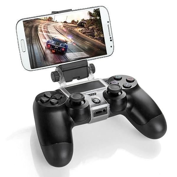 MyArmor PS4用 コントローラクリップ & スマホ用 OTGケーブル付き スマホがゲーム機に変身 ゲーム クリップ スマホ マウント 固定 ホルダー 日本語取扱説明書付