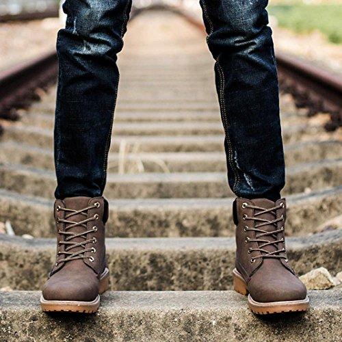 forrado Landfox zapatos caliente los tobillo de calza Martin Marrón hombres Botas de los xrOrqnYA