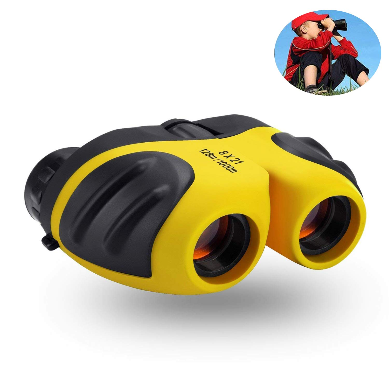 Binocular para Niños,WISHBB Regalos Cumpleaños Niños Niñas, 8x21 Bicicletas compactas Resistentes a la Niebla HD para IR de excursión a la Caza Teen Girl Gifts Juguetes para niños de 4-5 años (Rojo)