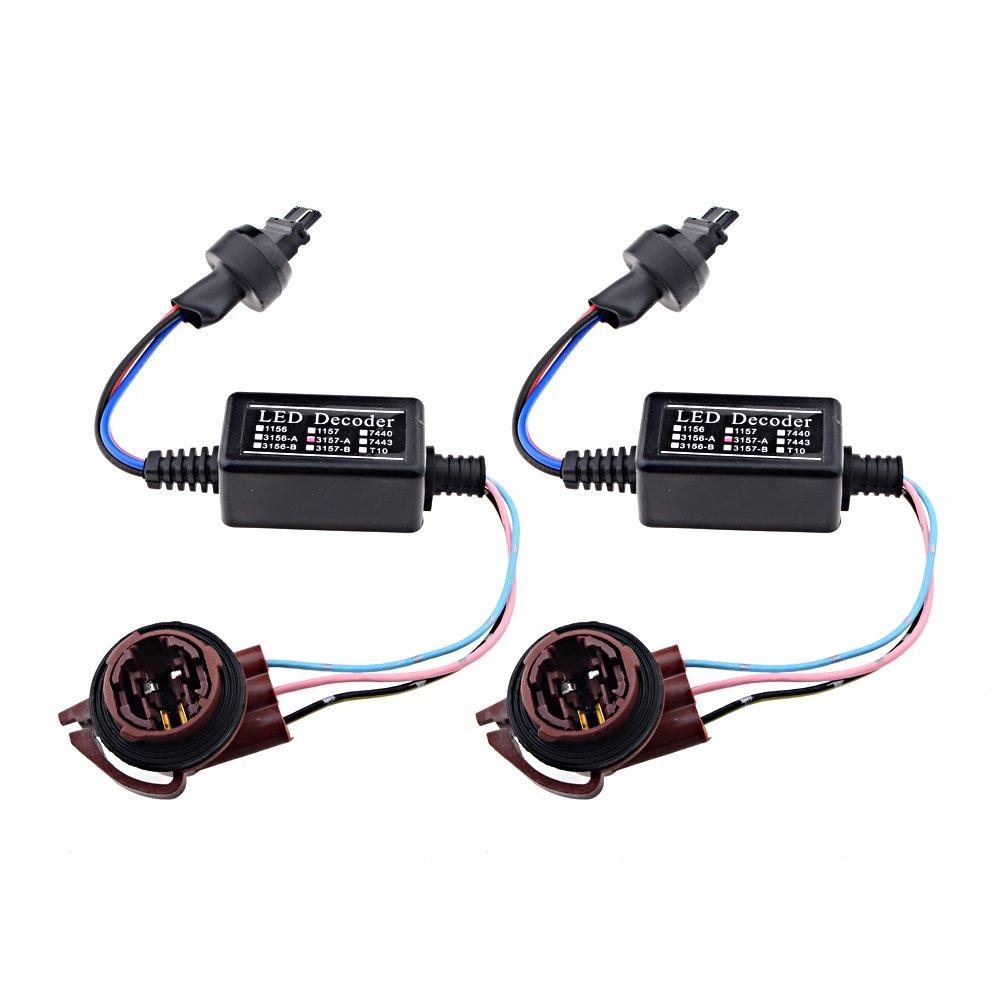 2x 3157 A Led Decoder Warning Error Canceller Turn Socket Wiring Diagram Signal Lamp Anti Flicker Load Resistor Set Automotive
