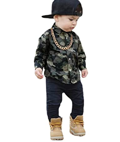 5bfb14ae0 Amazon.com: XARAZA Baby Boys Girls Button Down Plaid Long Sleeve Shirt Tops:  Clothing