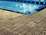 Quick Connect - Teak Interlocking Flooring Tiles - Windmill Pattern - Natural Finish - 10 Square Feet