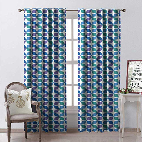 (Mid Century Modern Window Curtain Drape Geometric Shapes Repeated Pattern Customized Curtains W108 x L84 Azure Blue Blue Violet Dark Seafoam Cobalt Blue)