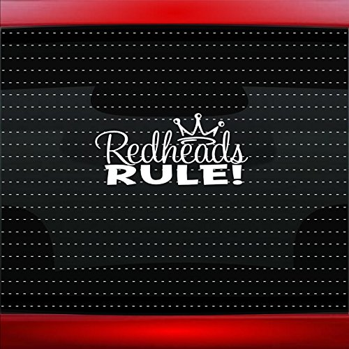(Redheads Rule Cute Funny Princess Family Mom Car Sticker Truck Window Vinyl Decal COLOR: WHITE)