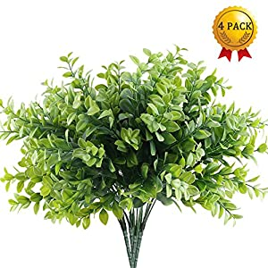 Nahuaa 4pcs Artificial Outdoor Plants Fake Boxwood Leaves Bushes Faux Plastic Greenery Bundles Table Centerpieces Arrangements Home Kitchen Office Windowsill Spring Decorations 65