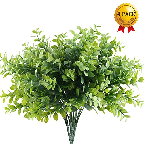 Nahuaa 4pcs Artificial Outdoor Plants Fake Boxwood Leaves Bushes Faux Plastic Greenery Bundles Table Centerpieces Arrangements Home Kitchen Office Windowsill Spring Decorations
