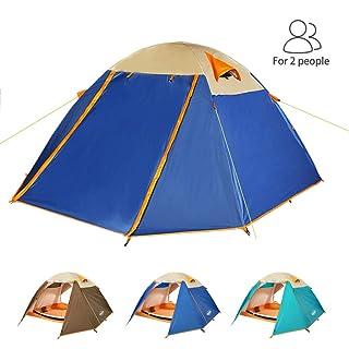 ZOMAKE Portatile Tenda Campeggio Impermeabile 2 Persone, Four Seasons Tende da Trekking per Famiglie (Marrone)