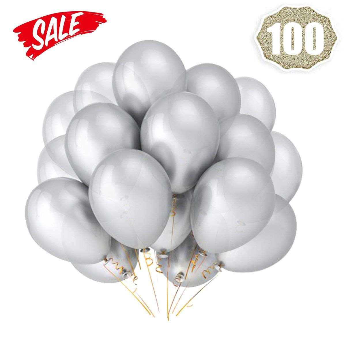 Silver Balloons Hovebeaty 12 Inches thicken Latex Metallic Balloons 100 Pack for Wedding Party Baby Shower Christmas Birthday Carnival Party Decoration Supplies