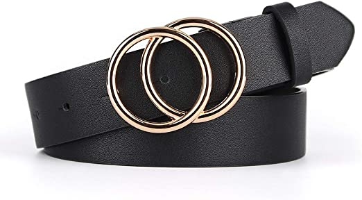 Lady Women Gold Round Buckle Belt Faux Leather Jeans Dress Casual Waist Band