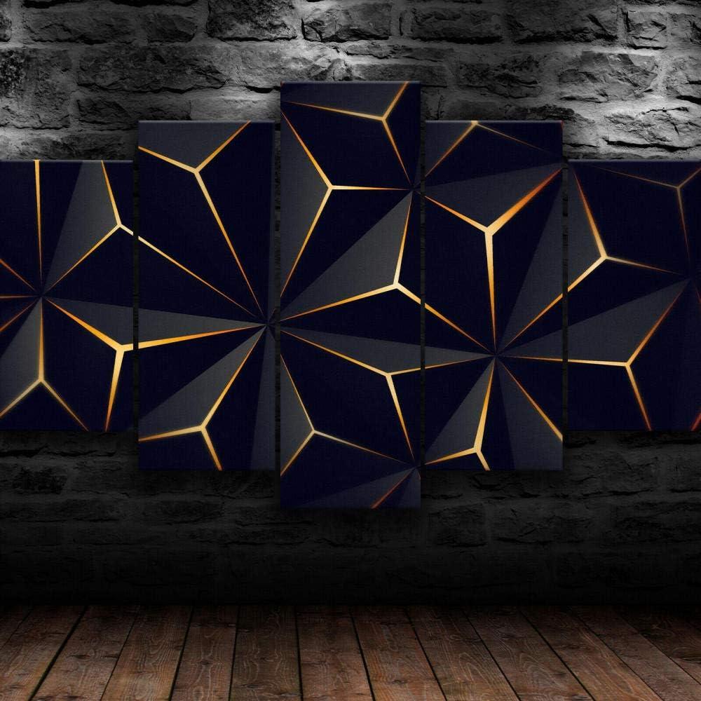 KOPASD Piy Painting 5 Piezas Cuadro sobre Lienzo Imagen Triángulo de Oro geométrico Impresión Pinturas Murales Decor Dibujo con Marco Fotografía para Oficina Aniversario200x100cm