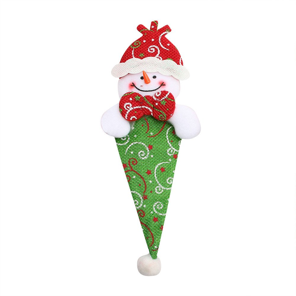 Christmas Xmas Decor Snowman Kitchen Tableware Holder Pocket Dinner Cutlery Bag (multicolour C)