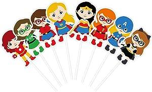 KUDES 24 Pieces Cartoon Superhero Avengers Cupcake Topper Picks for Girls Children Kids Birthday Party Cake Decoration Supplies