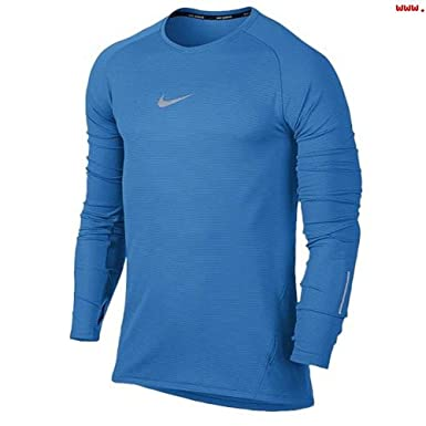 79c81c92f Image Unavailable. Image not available for. Color: Nike Mens Aeroreact Dri- Fit LS Running Shirt 683910 406 Blue (L)