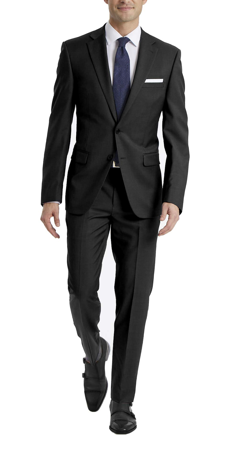 Calvin Klein Men's X Fit Stretch Slim Suit, black, 38 Short