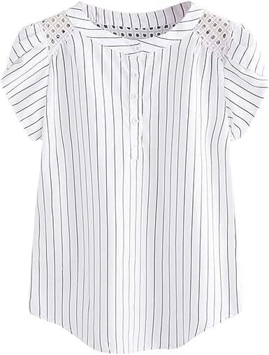 Camisetas chulas para Mujer Camiseta de Rayas con Cuello en V ...