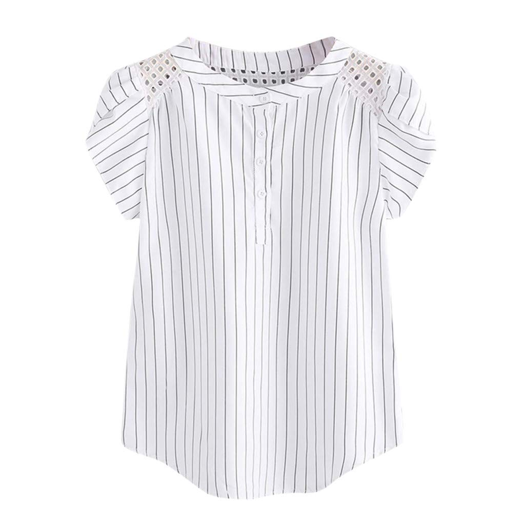 Women's Tops Fashion Striped Hollow Out T-Shirt Casual Butterfly Sleeve Shirts (XXL, White)