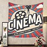 Gzhihine Custom tapestry Vintage Decor Tapestry Retro Cinema Movie Vintage Paper Texture Hollywood Stars Decorative Design for Bedroom Living Room Dorm Beige Amber Charcoal and Grey