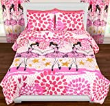 3 Piece Girls Dancing Ballerina Comforter Full Queen Set, Dance Themed Bedding, Twinkle Toes Pink White Purple, Hearts Polka Dots Stars All Over Pattern, Paint Splash Design, Ballet Dancers, Cute
