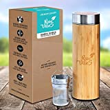 #8: Original Natural Bamboo Tumbler Tea Infuser Water Bottle By Raw Vibes | Tea Insulated Water Bottle For Traveling | BPA-Free, Stainless Steel Interior Tea Infused Travel Mug | Anti-Leak Tea Cup Infuser