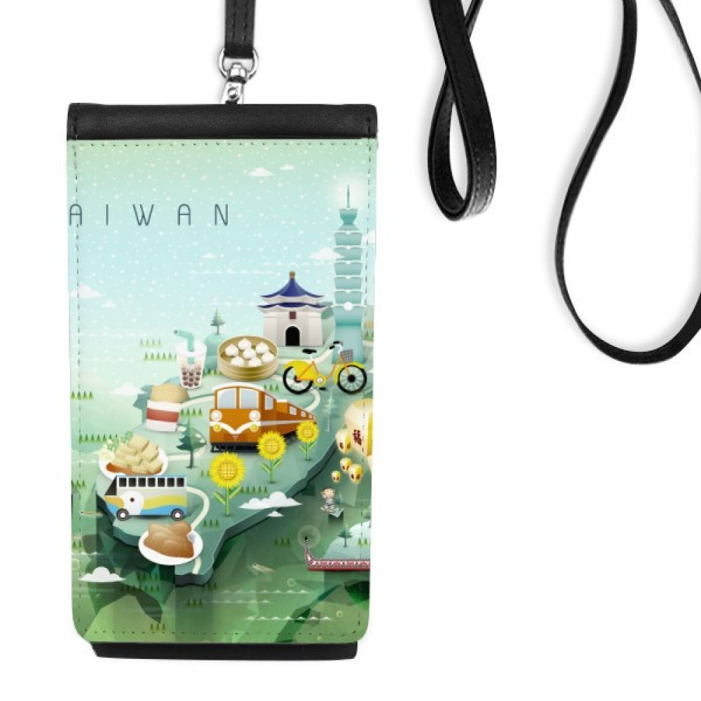 Travel Taiwan Food Attractions China Faux Leather Smartphone Hanging Purse Black Phone Wallet Gift